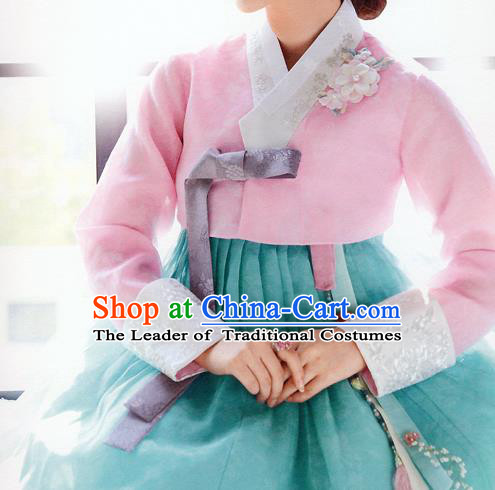 Traditional Korean Costumes Bride Wedding Pink Blouse and Green Dress, Korea Hanbok Court Embroidered Clothing for Women