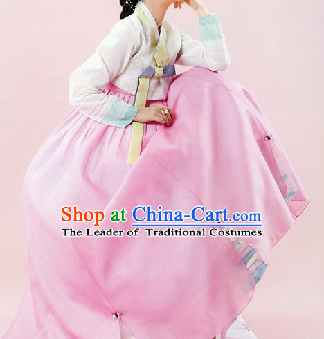 Traditional Korean Costumes Bride Wedding White Blouse and Pink Dress, Korea Hanbok Court Embroidered Clothing for Women
