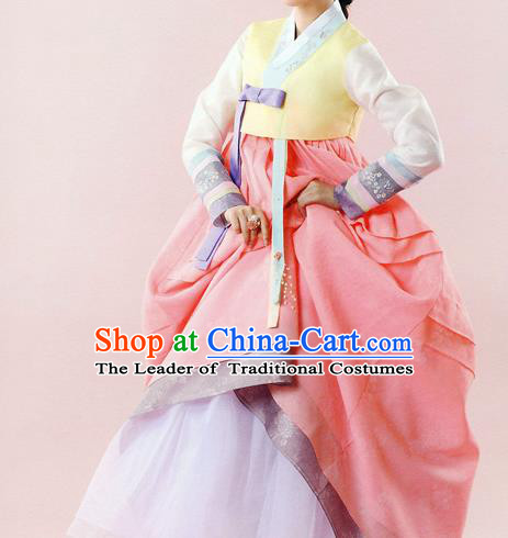 Traditional Korean Costumes Bride Wedding Yellow Blouse and Pink Dress, Korea Hanbok Court Embroidered Clothing for Women