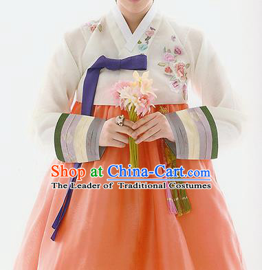 Traditional Korean Costumes Bride Wedding White Blouse and Orange Silk Dress, Korea Hanbok Princess Court Embroidered Clothing for Women