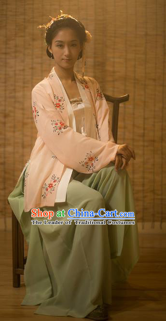 Traditional Chinese Song Dynasty Nobility Lady Embroidered Costume Complete Set, Asian China Ancient Princess Hanfu Dress Clothing for Women
