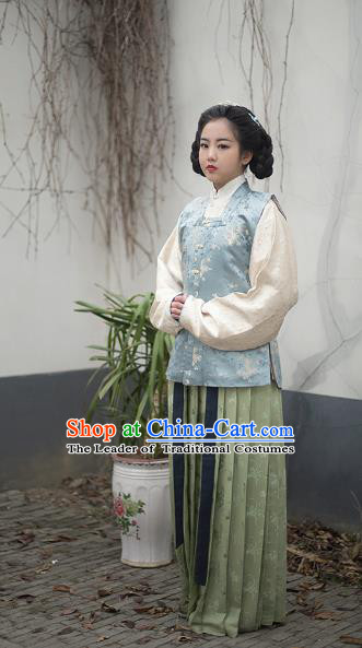 Traditional Chinese Ming Dynasty Nobility Lady Embroidered Costume Vest Blouse and Skirt, Asian China Ancient Princess Hanfu Dress Clothing for Women