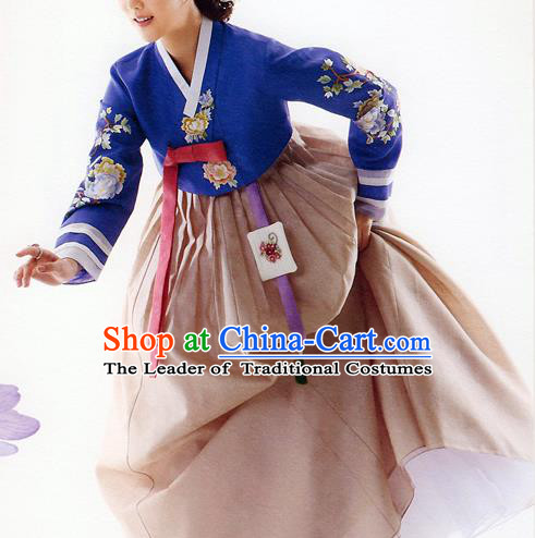 Traditional Korean Costumes Bride Formal Attire Ceremonial Blue Blouse and Brown Dress, Korea Hanbok Court Embroidered Clothing for Women