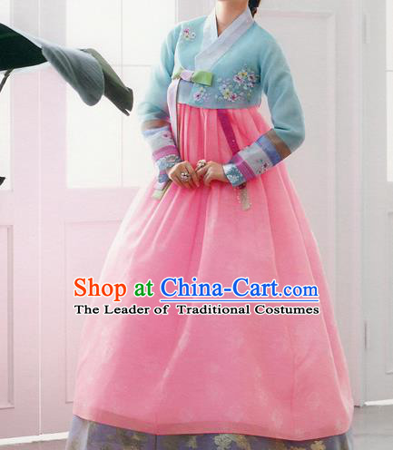 Traditional Korean Costumes Bride Formal Attire Ceremonial Blue Blouse and Pink Dress, Korea Hanbok Court Embroidered Clothing for Women