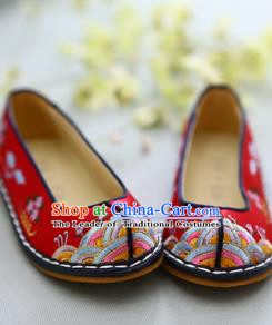 Traditional Korean National Wedding Red Embroidered Shoes, Asian Korean Hanbok Bride Shoes for Kids