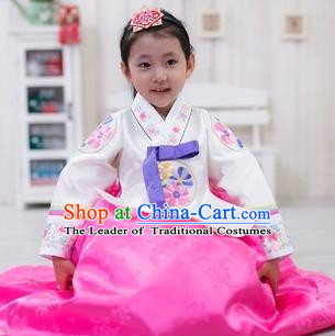 Traditional Korean Handmade Formal Occasions Costume Embroidered Baby Brithday Hanbok Pink Dress Clothing for Girls