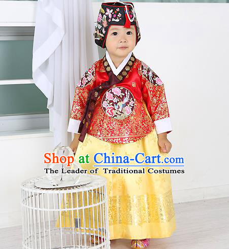 Traditional Korean Handmade Formal Occasions Costume Embroidered Baby Brithday Girls Red Blouse and Dress Hanbok Clothing