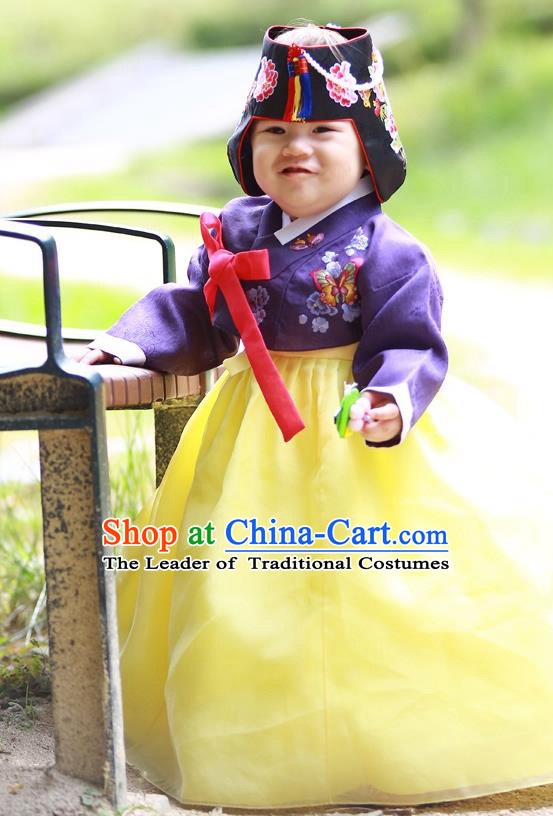 Traditional Korean Handmade Formal Occasions Costume Embroidered Purple Blouse and Yellow Dress Hanbok Clothing for Girls