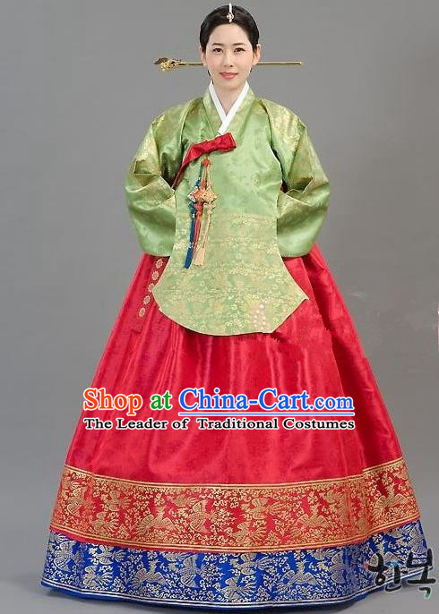 Traditional Korean Handmade Formal Occasions Costume Embroidered Green Blouse and Red Dress Hanbok Clothing for Women