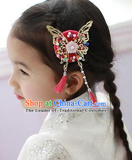 Traditional Korean Hair Accessories Red Butterfly Tassel Hair Clasp, Asian Korean Fashion Headwear Headband for Kids