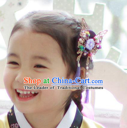 Traditional Korean Hair Accessories Purple Butterfly Tassel Hair Clasp, Asian Korean Fashion Headwear Headband for Kids