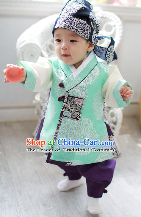 Traditional Korean Handmade Formal Occasions Costume Embroidered Baby Brithday Hanbok Green Clothing for Boys