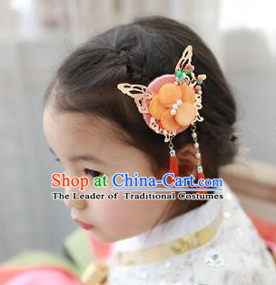 Traditional Korean Hair Accessories Orange Butterfly Tassel Hair Clasp, Asian Korean Fashion Headwear Headband for Kids