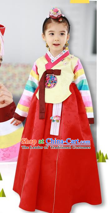 Traditional Korean Handmade Formal Occasions Costume Baby Princess Embroidered Yellow Blouse and Red Dress Hanbok Clothing for Girls