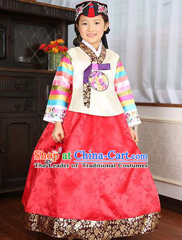 Asian Korean Traditional Handmade Formal Occasions Costume Baby Princess Embroidered White Blouse and Red Dress Hanbok Clothing for Girls