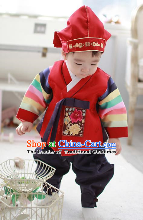 Asian Korean Traditional Handmade Formal Occasions Costume Baby Prince Embroidered Red Hanbok Clothing for Boys