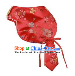 Traditional Korean Hair Accessories Bride Red Brocade Hats, Asian Korean Fashion Wedding Headwear for Kids