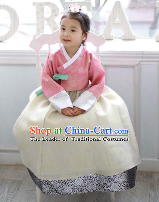 Asian Korean National Traditional Handmade Formal Occasions Costume, Palace Wedding Embroidered White Hanbok Clothing for Girls