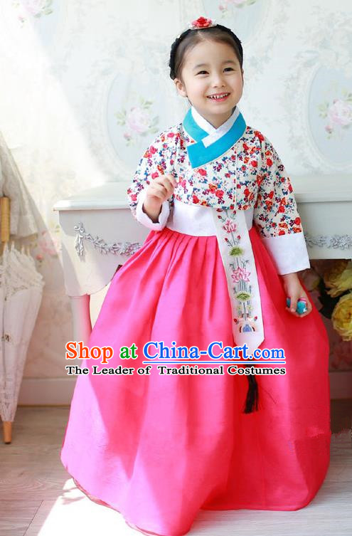 Asian Korean National Traditional Handmade Formal Occasions Costume, Palace Wedding Embroidered Lace Hanbok Clothing for Girls