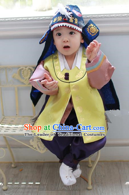 Asian Korean National Traditional Handmade Formal Occasions Costume, Palace Boys Brithday Embroidered Yellow Hanbok Clothing for Kids