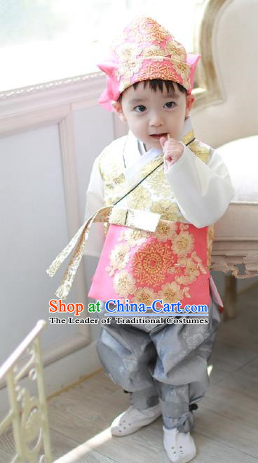 Asian Korean National Traditional Handmade Formal Occasions Costume, Palace Boys Brithday Embroidered Pink Hanbok Clothing for Kids