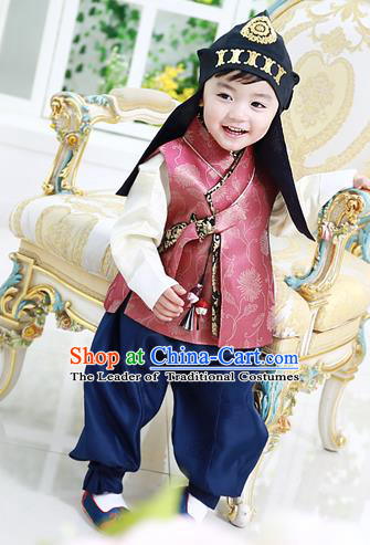 Asian Korean National Traditional Handmade Formal Occasions Costume, Palace Boys Brithday Embroidered Red Hanbok Clothing for Kids