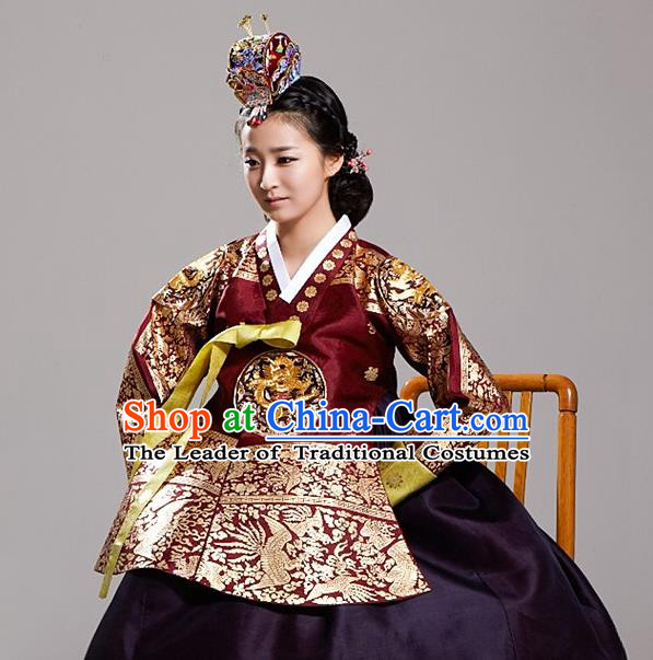 Asian Korean National Traditional Handmade Formal Occasions Costume, Palace Queen Wedding Embroidered Purple Hanbok Clothing for Women