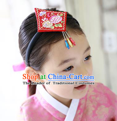 Traditional Korean Hair Accessories Embroidered Red Hair Clasp, Asian Korean Hanbok Fashion Headwear Headband for Kids