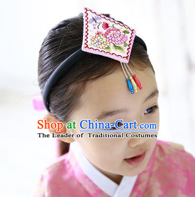 Traditional Korean Hair Accessories Embroidered Pink Hair Clasp, Asian Korean Hanbok Fashion Headwear Headband for Kids