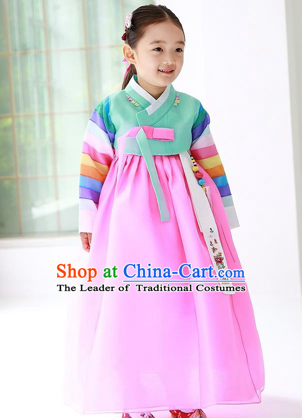 Traditional Korean Handmade Formal Occasions Costume Princess Green Embroidered Blouse and Pink Dress Hanbok Clothing for Girls