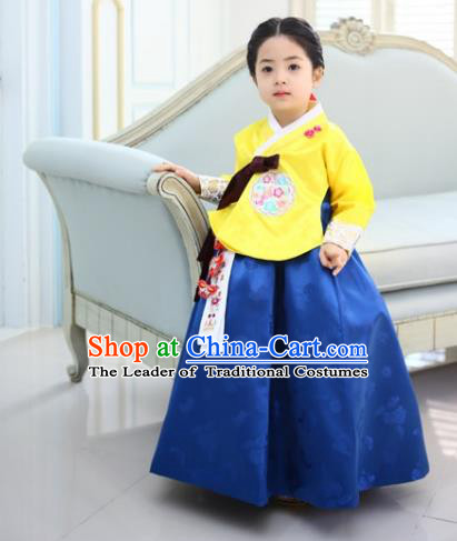 Asian Korean Traditional Handmade Formal Occasions Costume Princess Yellow Embroidered Blouse and Blue Dress Hanbok Clothing for Girls