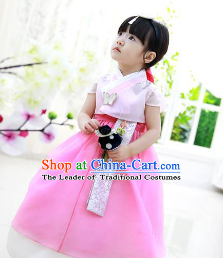 Asian Korean Traditional Handmade Formal Occasions Costume Princess Pink Embroidered Blouse and Dress Hanbok Clothing for Girls