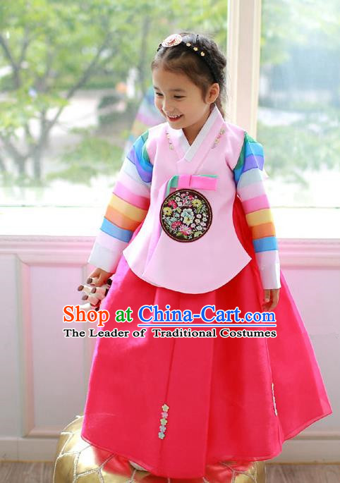 Asian Korean Traditional Handmade Formal Occasions Costume Princess Embroidered Pink Blouse and Red Dress Hanbok Clothing for Girls