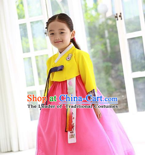 Asian Korean Traditional Handmade Formal Occasions Costume Princess Embroidered Yellow Blouse and Pink Dress Hanbok Clothing for Girls