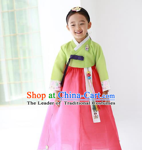 Asian Korean Traditional Handmade Formal Occasions Costume Princess Embroidered Green Blouse and Pink Dress Hanbok Clothing for Girls