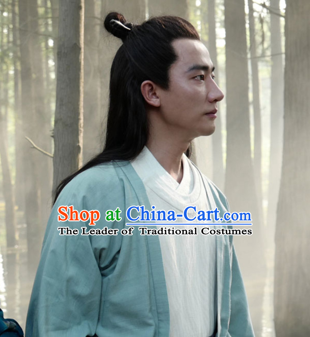 Ancient Chinese Tang Dynasty Male Long Black Wigs