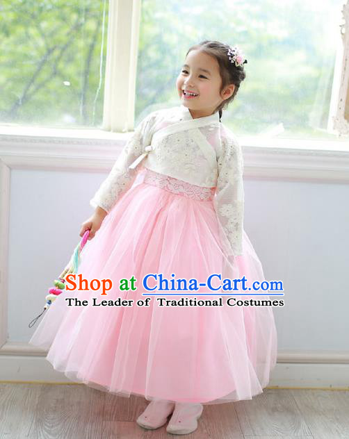 Asian Korean Traditional Handmade Formal Occasions Costume Princess  Embroidered White Lace Blouse and Pink Dress Hanbok Clothing for Girls