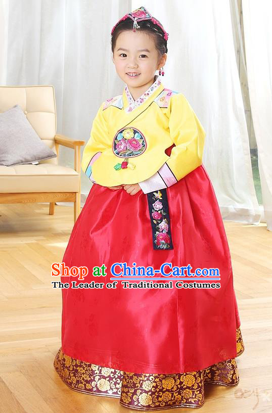 Asian Korean Traditional Handmade Formal Occasions Costume Princess Embroidered Yellow Blouse and Red Dress Hanbok Clothing for Girls
