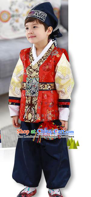 Asian Korean Traditional Handmade Formal Occasions Costume Palace Prince Embroidered Red Hanbok Clothing for Boys