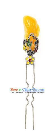 Traditional Korean Hair Accessories Girls Yellow Hairpins, Asian Korean Fashion Headwear Hair Stick for Kids