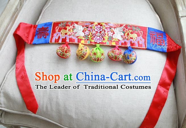 Traditional Korean National Accessories Embroidered Red Waist Belts, Asian Korean Fashion Waistband Decorations for Kids