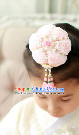 Traditional Korean Hair Accessories Embroidered Pink Lace Flower Hair Clasp, Asian Korean Hanbok Fashion Headwear Headband for Kids