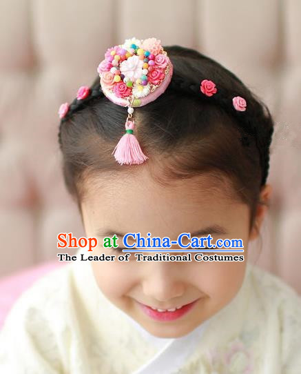 Traditional Korean Hair Accessories Embroidered Pink Flower Hair Clasp, Asian Korean Hanbok Fashion Headwear Headband for Kids
