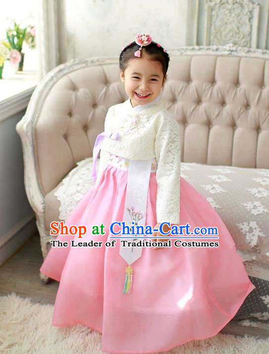 Asian Korean Traditional Handmade Formal Occasions Costume Palace Princess Embroidered White Lace Blouse and Pink Dress Hanbok Clothing for Girls