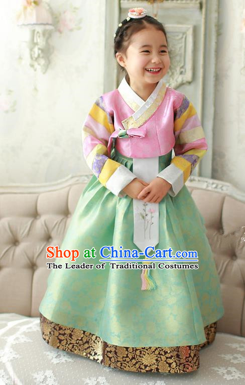 Asian Korean Traditional Handmade Formal Occasions Costume Palace Princess Embroidered Pink Blouse and Green Dress Hanbok Clothing for Girls