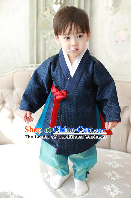 Asian Korean Traditional Handmade Formal Occasions Boys Navy Costume Hanbok Clothing for Boys