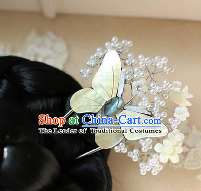 Traditional Korean Hair Accessories Bride White Butterfly Hairpins, Asian Korean Fashion Wedding Headwear for Kids