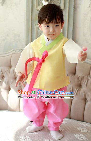 Asian Korean Traditional Handmade Formal Occasions Boys Embroidered Yellow Costume Hanbok Clothing for Boys