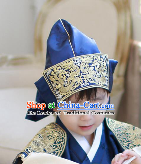 Traditional Korean Hair Accessories Blue Embroidered Prince Hats, Asian Korean Fashion Wedding Headwear for Kids