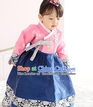 Asian Korean Traditional Handmade Formal Occasions Girls Embroidered Pink Blouse and Blue Dress Costume Hanbok Clothing for Kids
